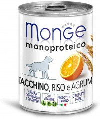 Monge WET DOG MONOPROTEICO FRUITS Turkey, Rise & Citrus