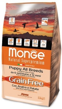 Monge GRAIN FREE PUPPY ALL BREEDS with Duck and Potatoes